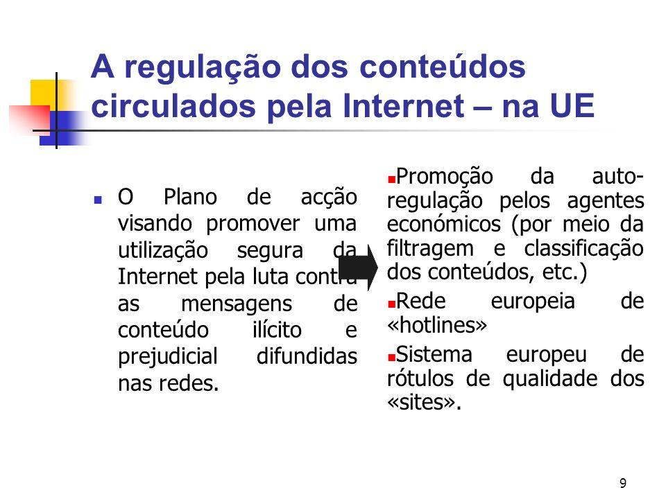 A regulação dos conteúdos circulados pela Internet – na UE