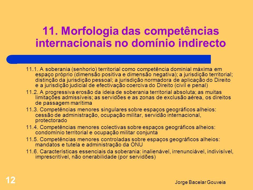 11. Morfologia das competências internacionais no domínio indirecto