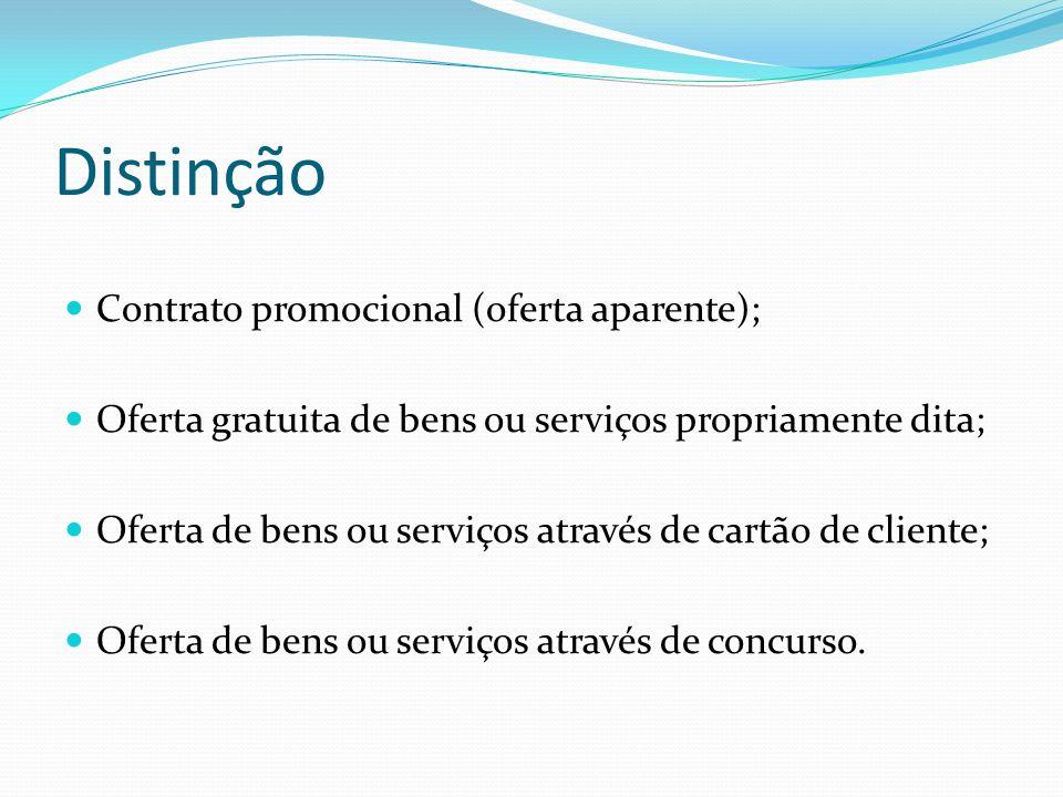 Distinção Contrato promocional (oferta aparente);