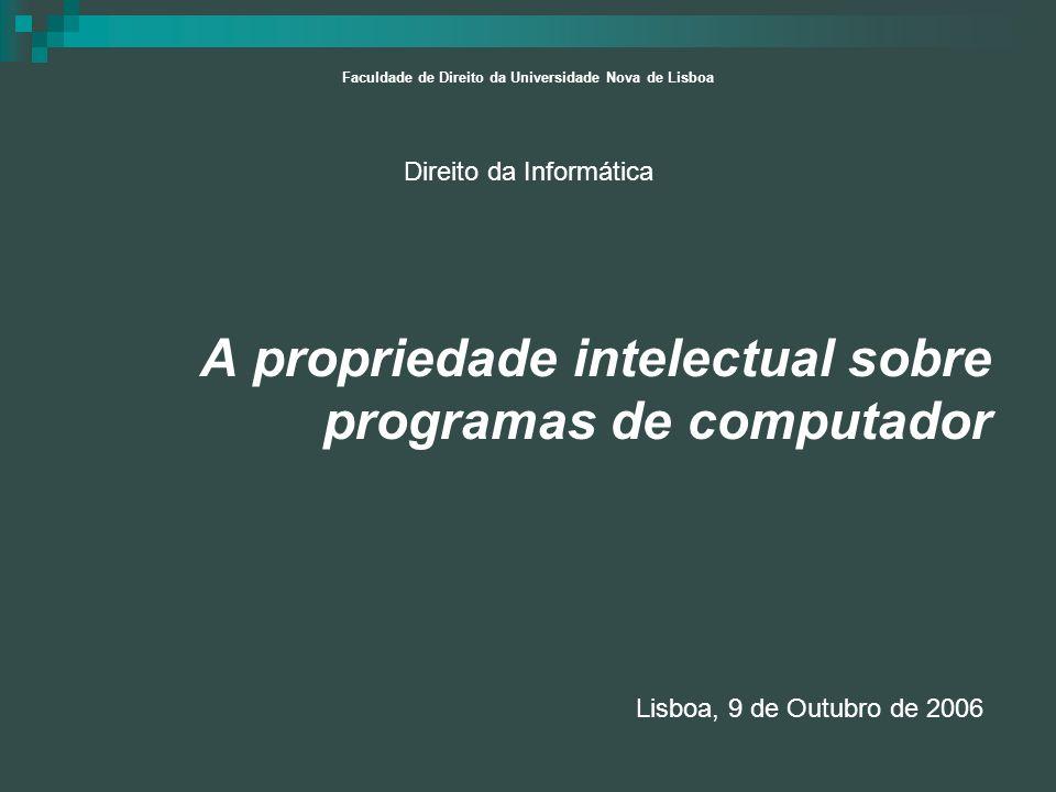 A propriedade intelectual sobre programas de computador