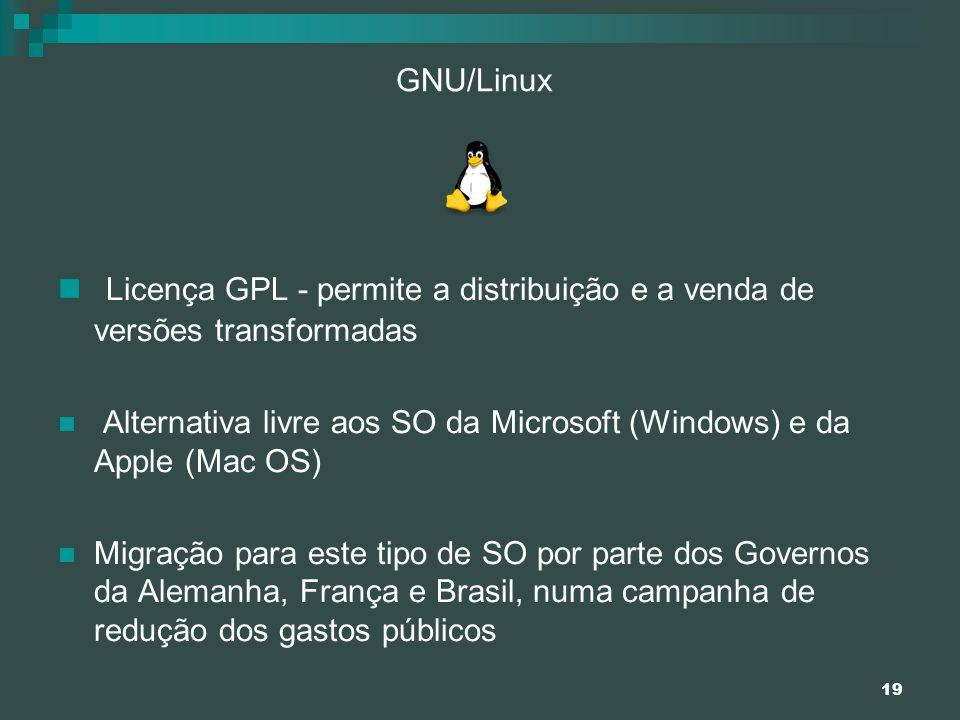GNU/Linux Licença GPL - permite a distribuição e a venda de versões transformadas.