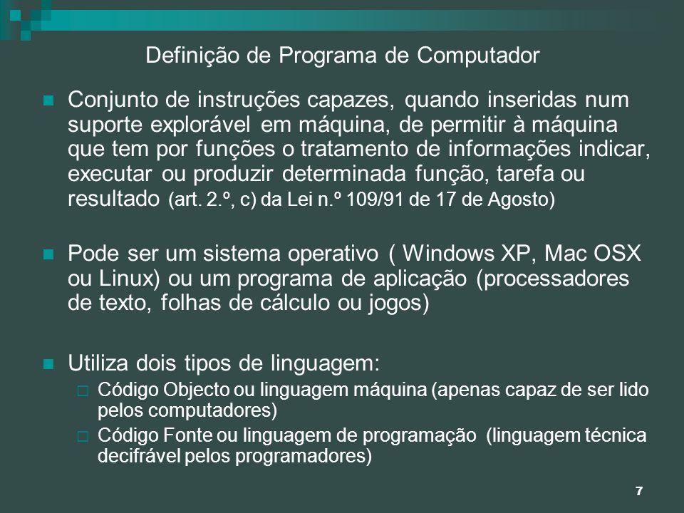Definição de Programa de Computador