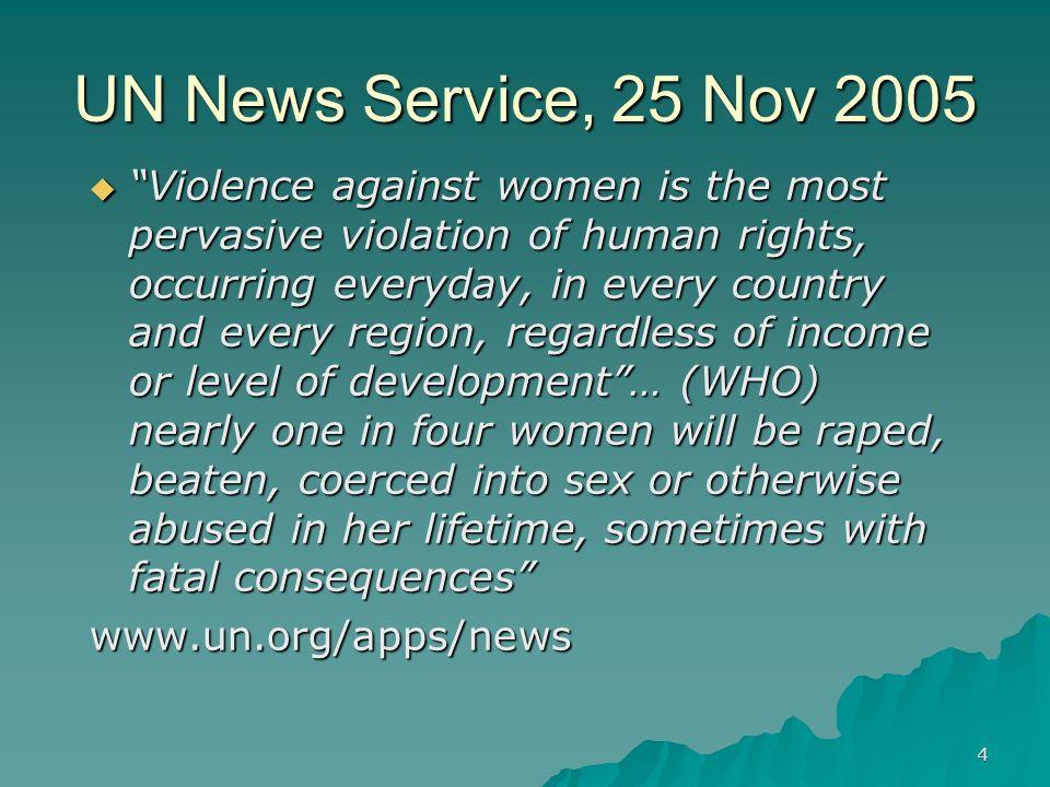 UN News Service, 25 Nov 2005
