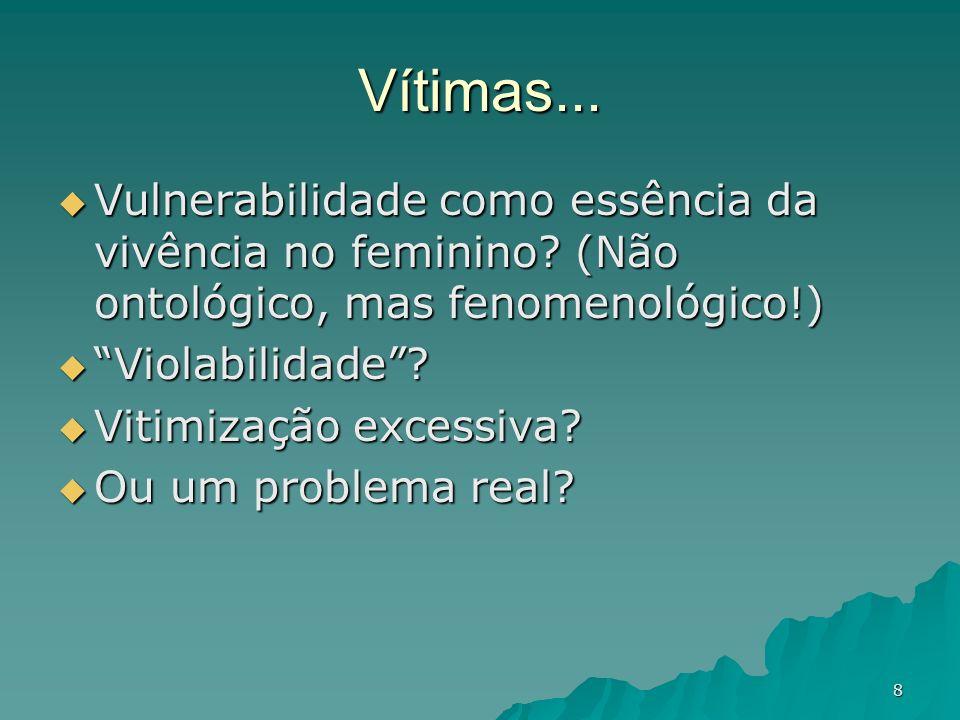 Vítimas... Vulnerabilidade como essência da vivência no feminino (Não ontológico, mas fenomenológico!)