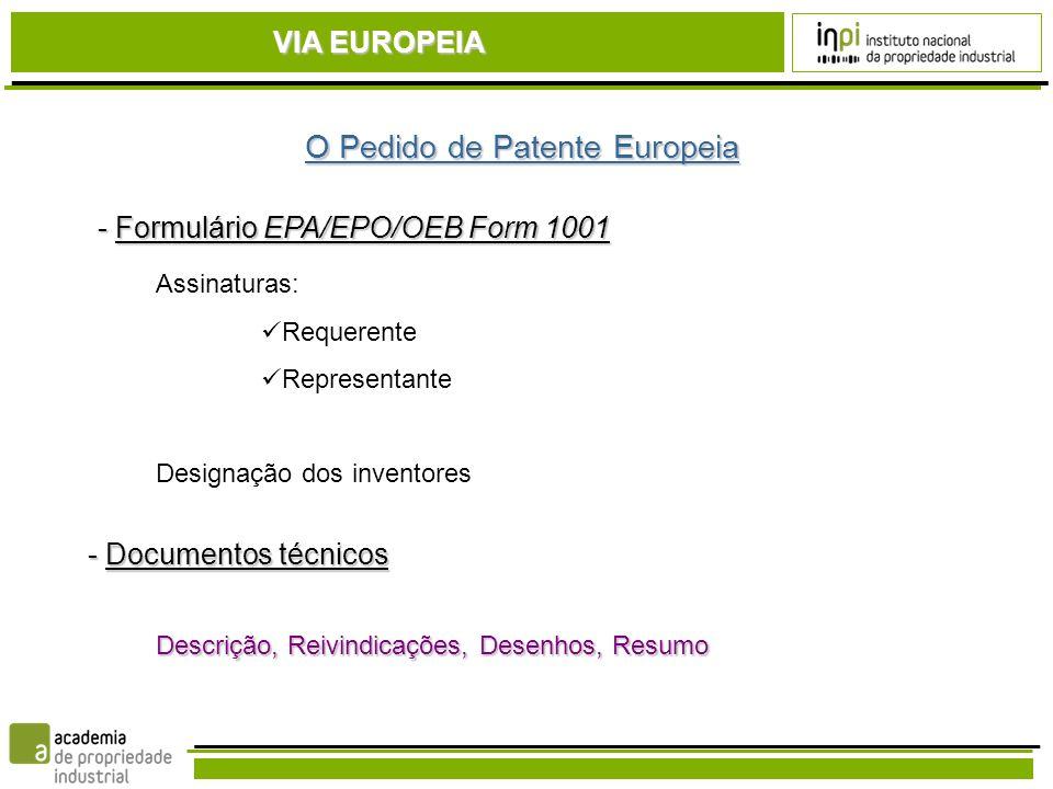 O Pedido de Patente Europeia