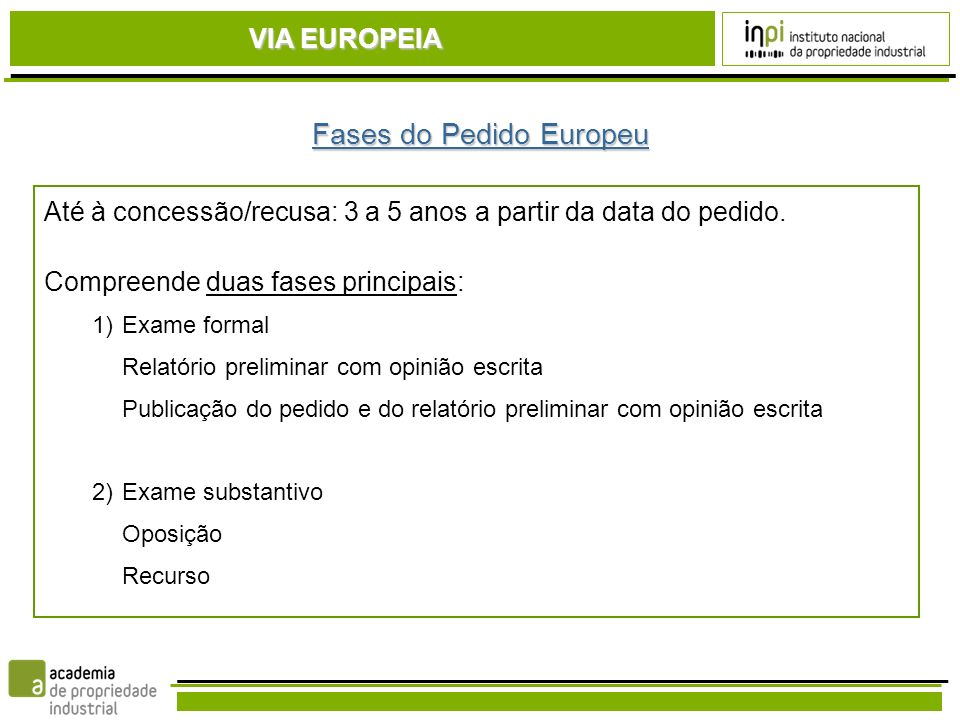 Fases do Pedido Europeu