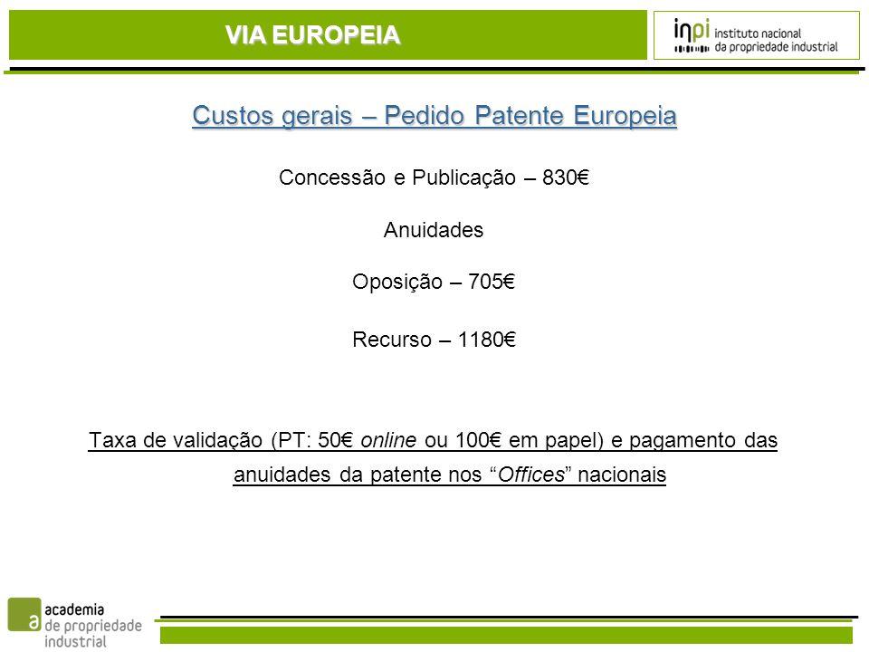 Custos gerais – Pedido Patente Europeia