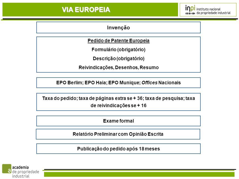 VIA EUROPEIA Invenção Pedido de Patente Europeia