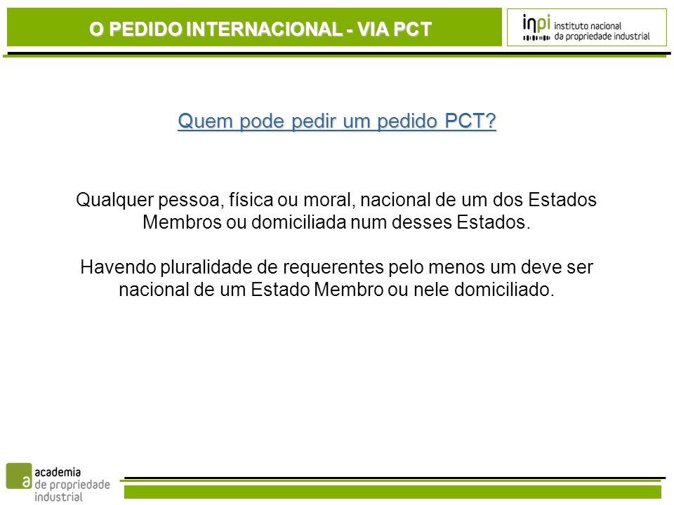 Quem pode pedir um pedido PCT