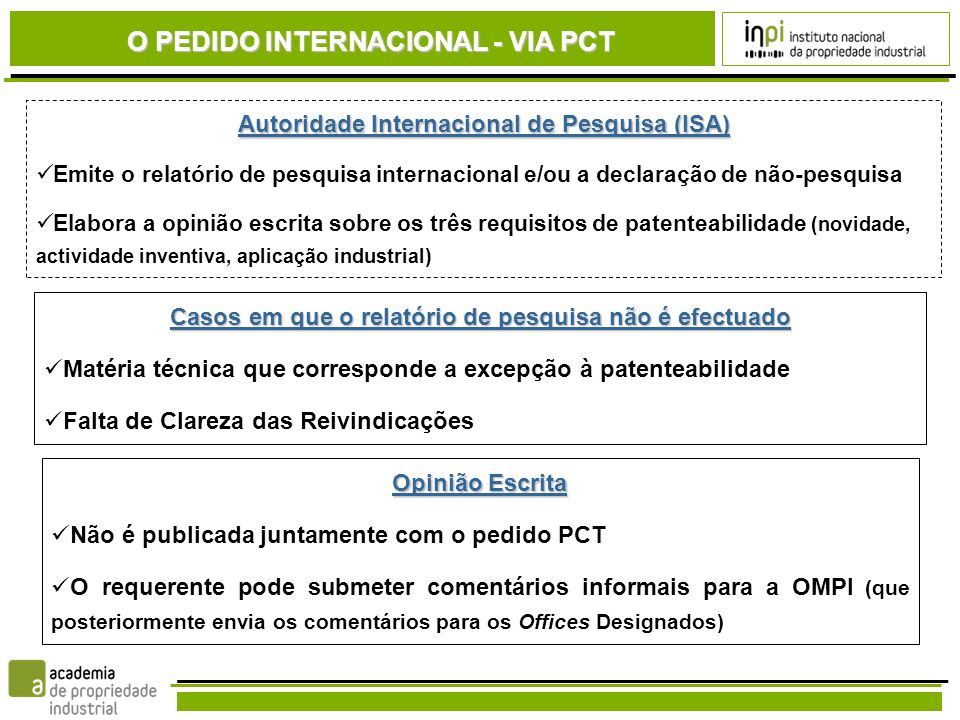 O PEDIDO INTERNACIONAL - VIA PCT