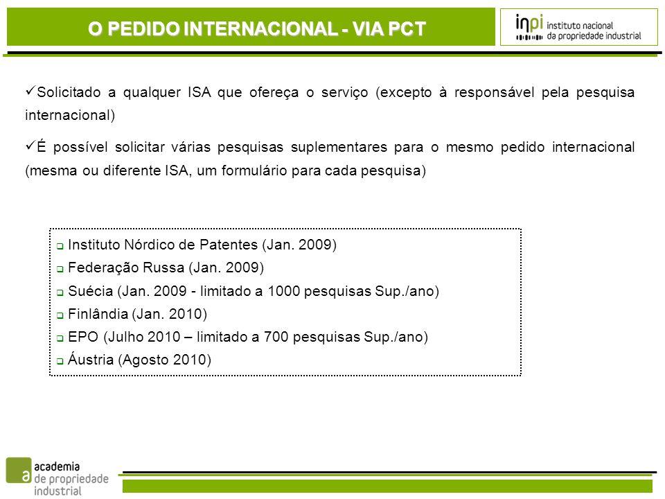 O PEDIDO INTERNACIONAL - VIA PCT