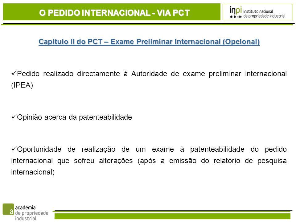 Capitulo II do PCT – Exame Preliminar Internacional (Opcional)