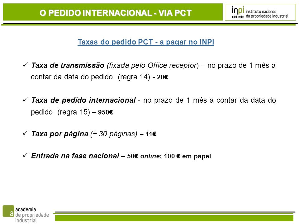 Taxas do pedido PCT - a pagar no INPI