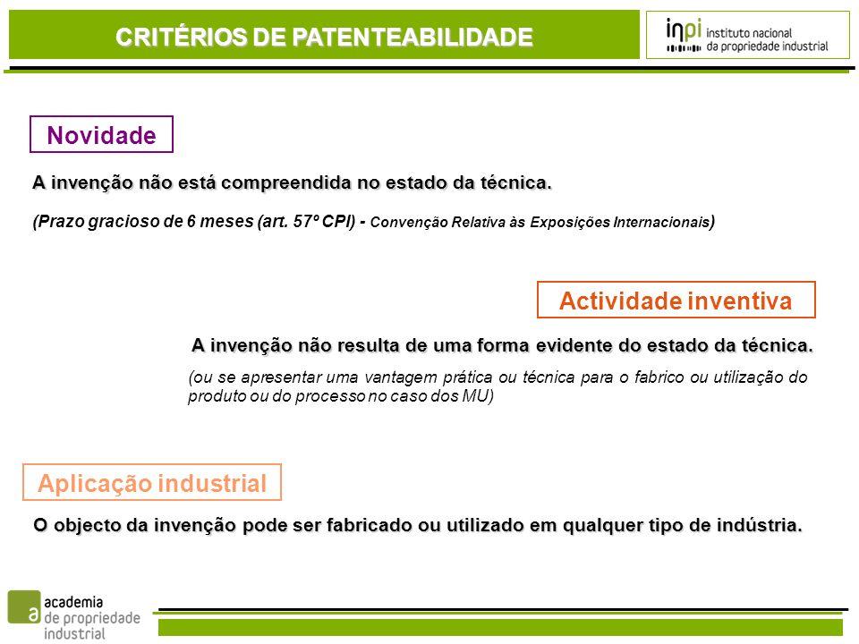 CRITÉRIOS DE PATENTEABILIDADE