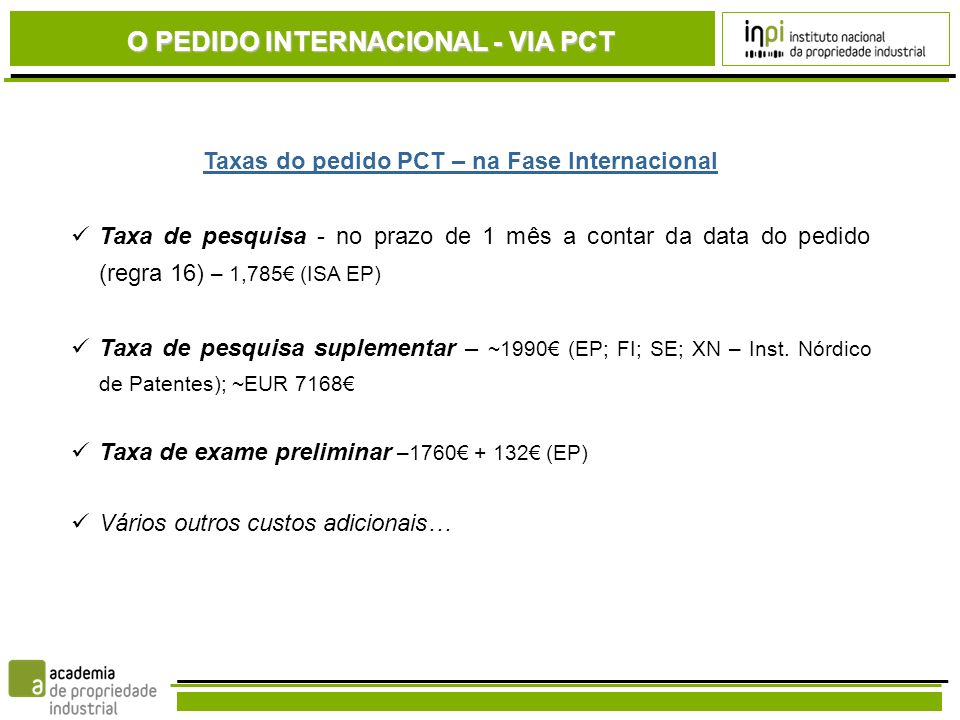 Taxas do pedido PCT – na Fase Internacional