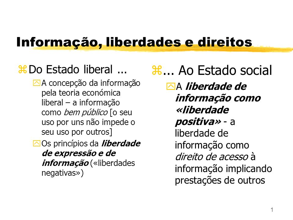 Informação, liberdades e direitos