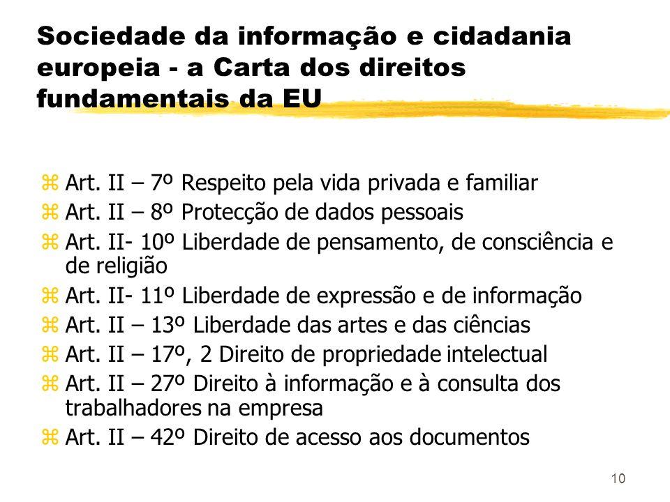 Sociedade da informação e cidadania europeia - a Carta dos direitos fundamentais da EU