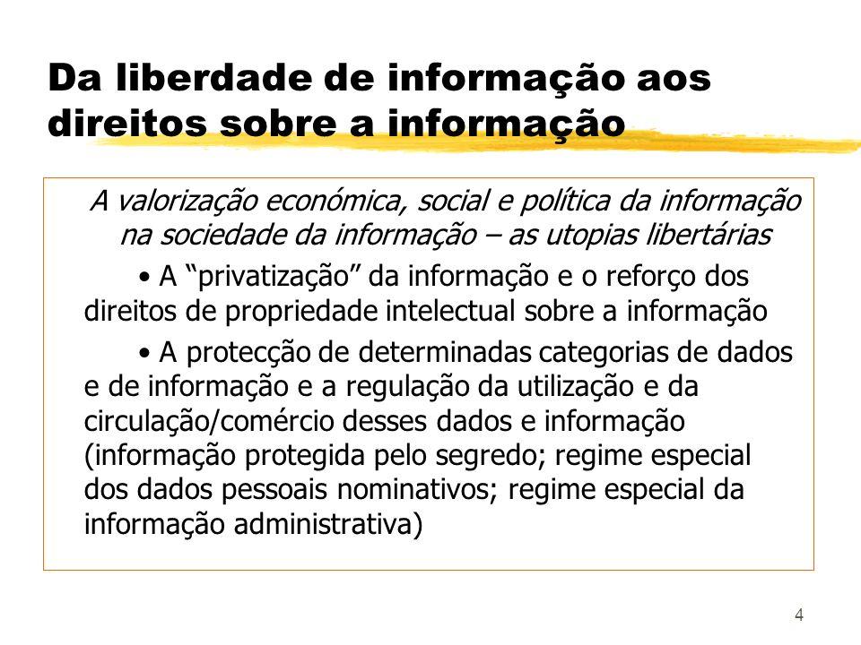 Da liberdade de informação aos direitos sobre a informação