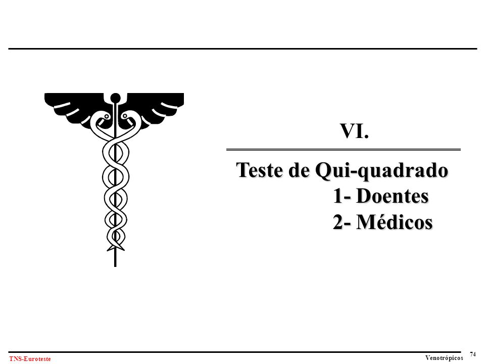 VI. Teste de Qui-quadrado 1- Doentes 2- Médicos
