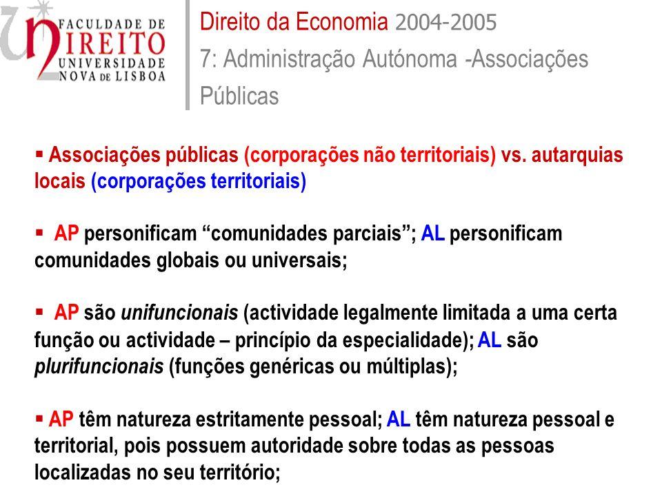 Direito da Economia 2004-2005 7: Administração Autónoma -Associações Públicas