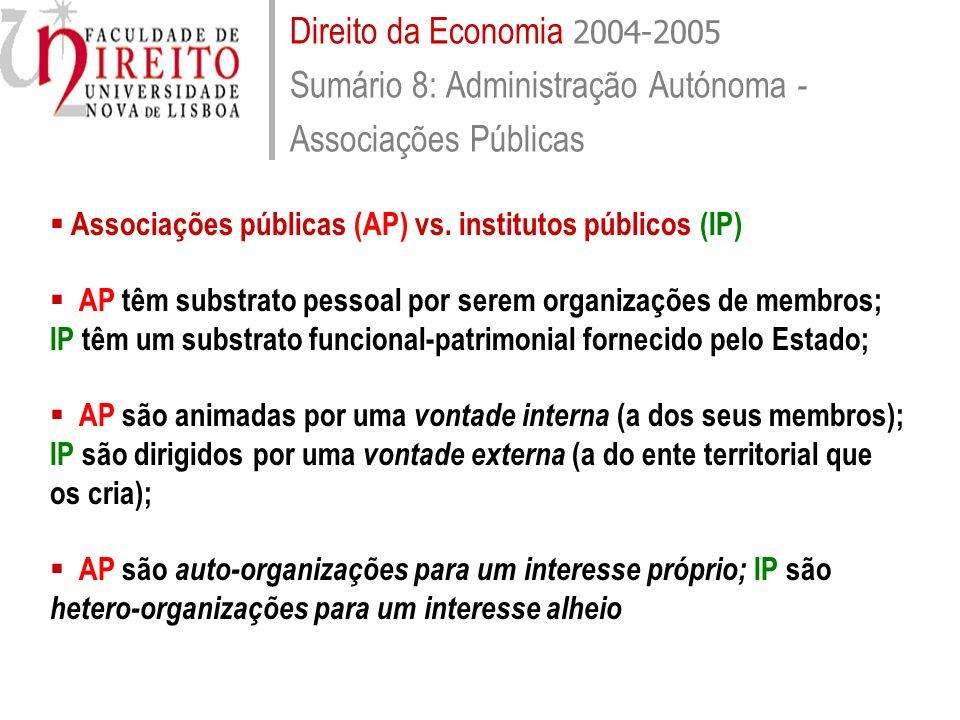 Direito da Economia 2004-2005 Sumário 8: Administração Autónoma -Associações Públicas