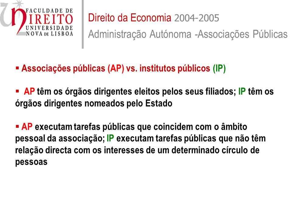 Direito da Economia 2004-2005 Administração Autónoma -Associações Públicas