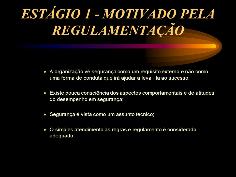 ESTÁGIO 1 - MOTIVADO PELA REGULAMENTAÇÃO