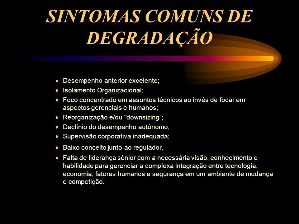 SINTOMAS COMUNS DE DEGRADAÇÃO
