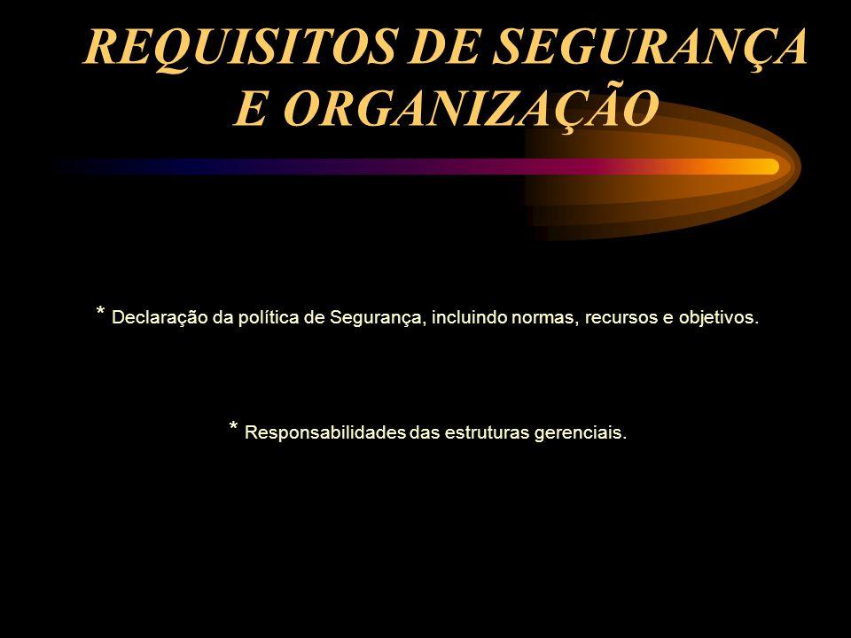 REQUISITOS DE SEGURANÇA E ORGANIZAÇÃO