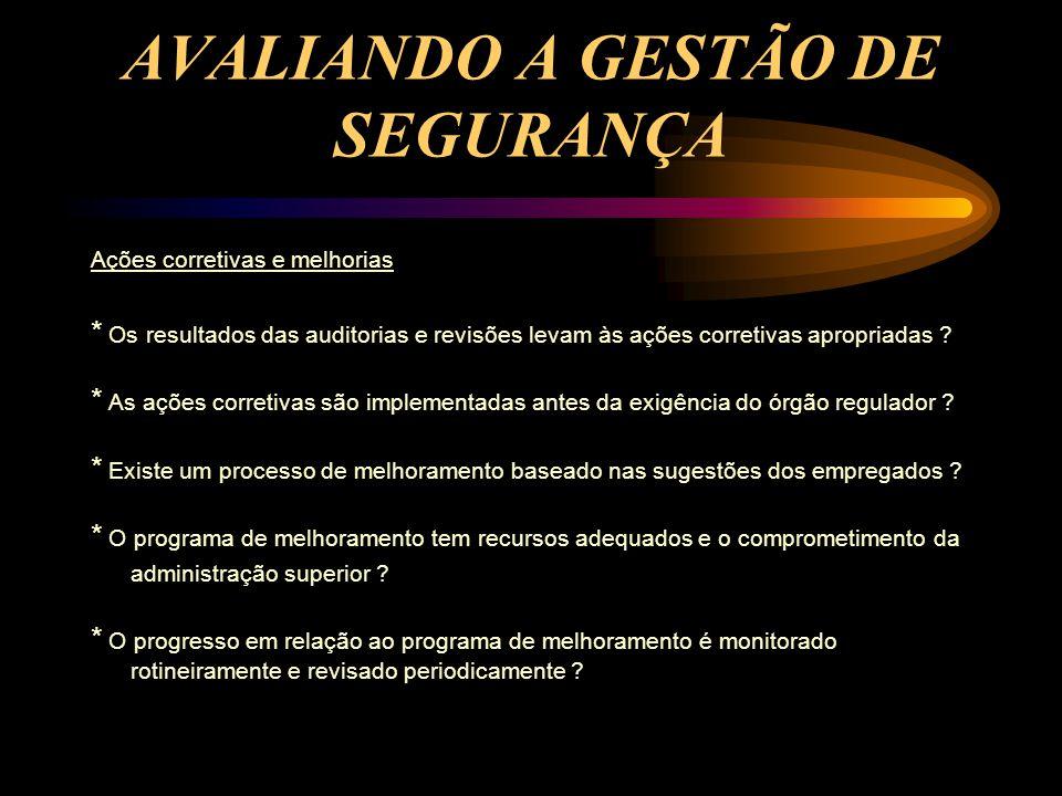 AVALIANDO A GESTÃO DE SEGURANÇA