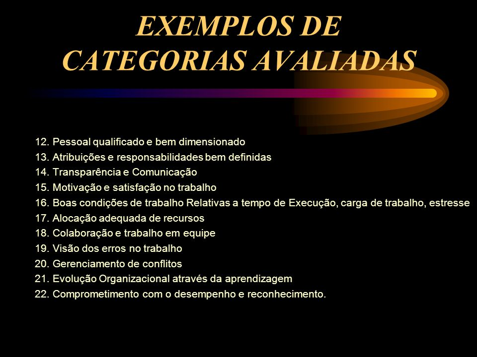 EXEMPLOS DE CATEGORIAS AVALIADAS