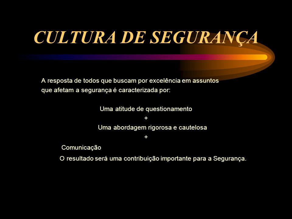 CULTURA DE SEGURANÇA A resposta de todos que buscam por excelência em assuntos. que afetam a segurança é caracterizada por:
