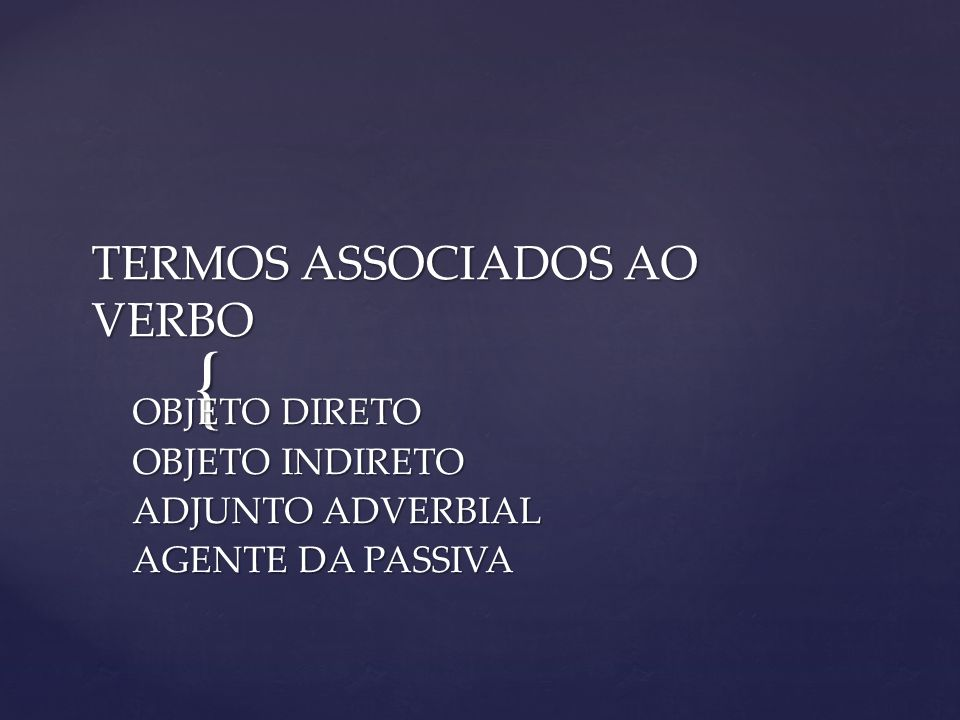 TERMOS ASSOCIADOS AO VERBO