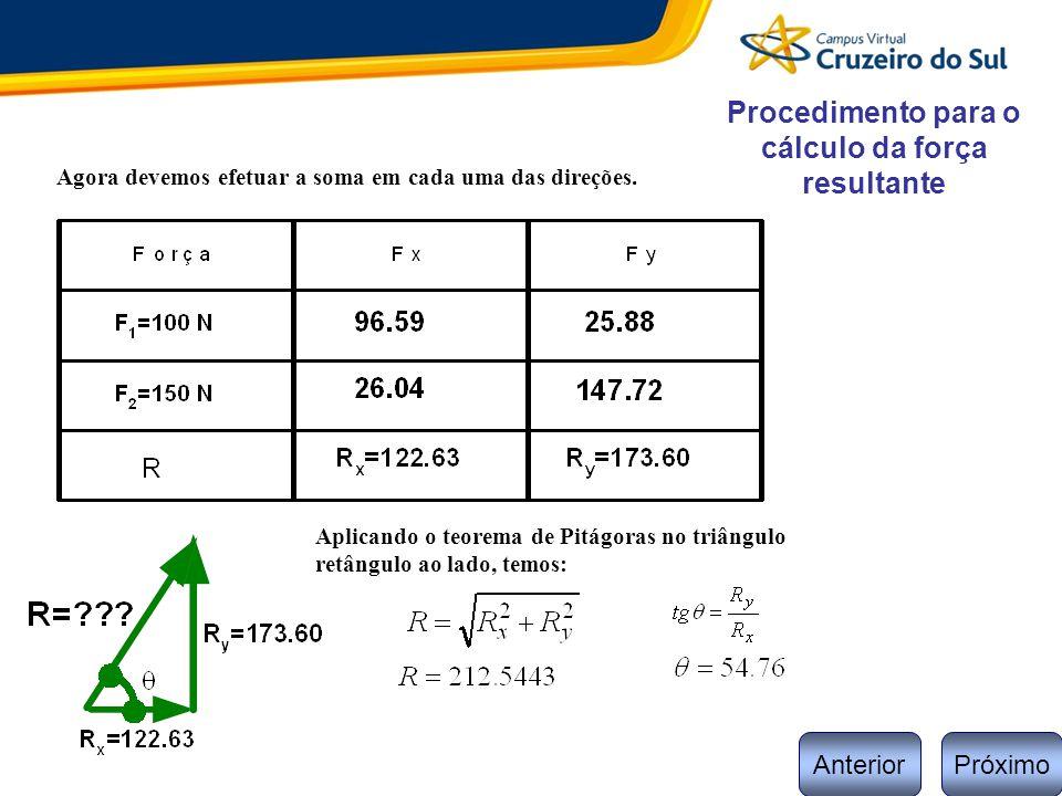 Procedimento para o cálculo da força resultante