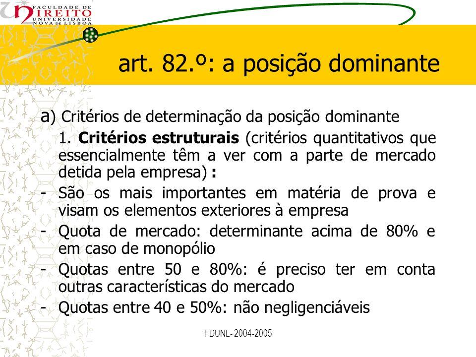 art. 82.º: a posição dominante