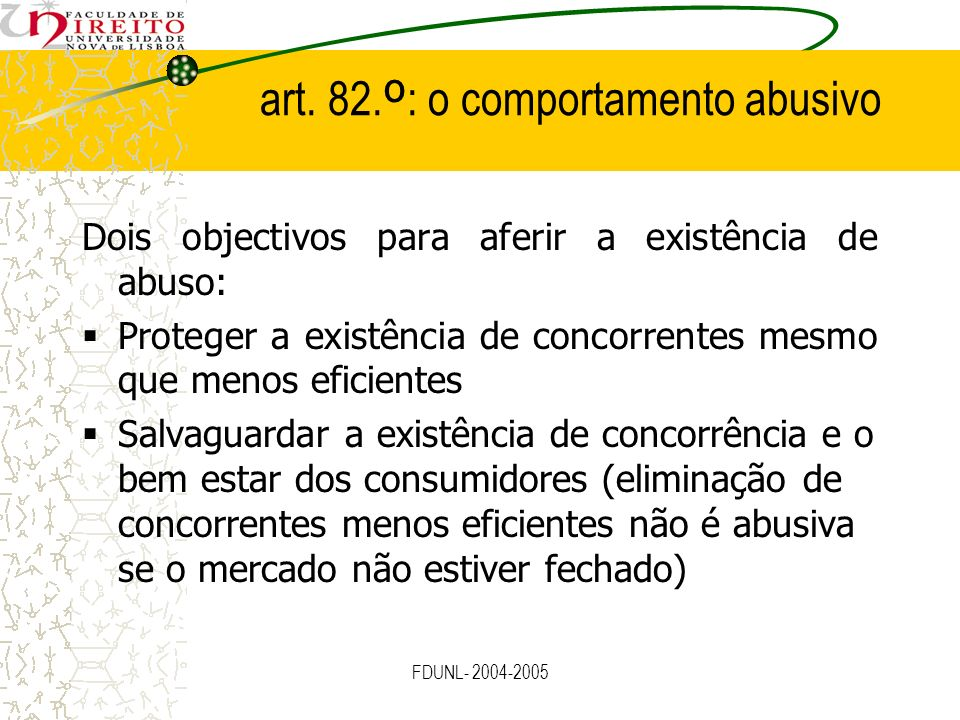 art. 82.º: o comportamento abusivo