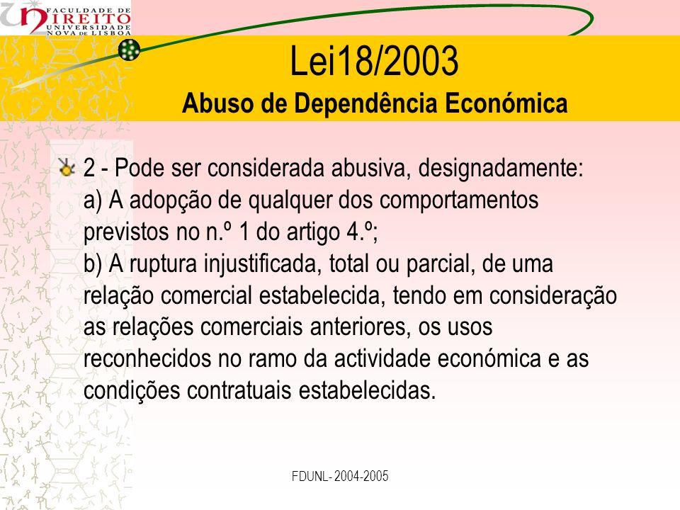 Lei18/2003 Abuso de Dependência Económica