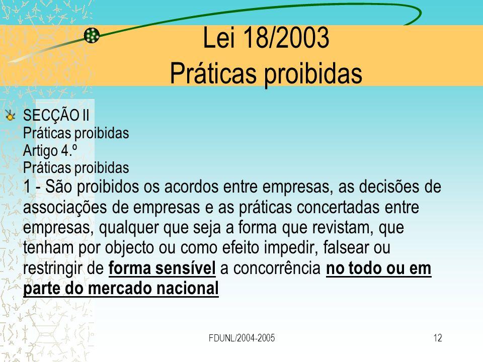 Lei 18/2003 Práticas proibidas