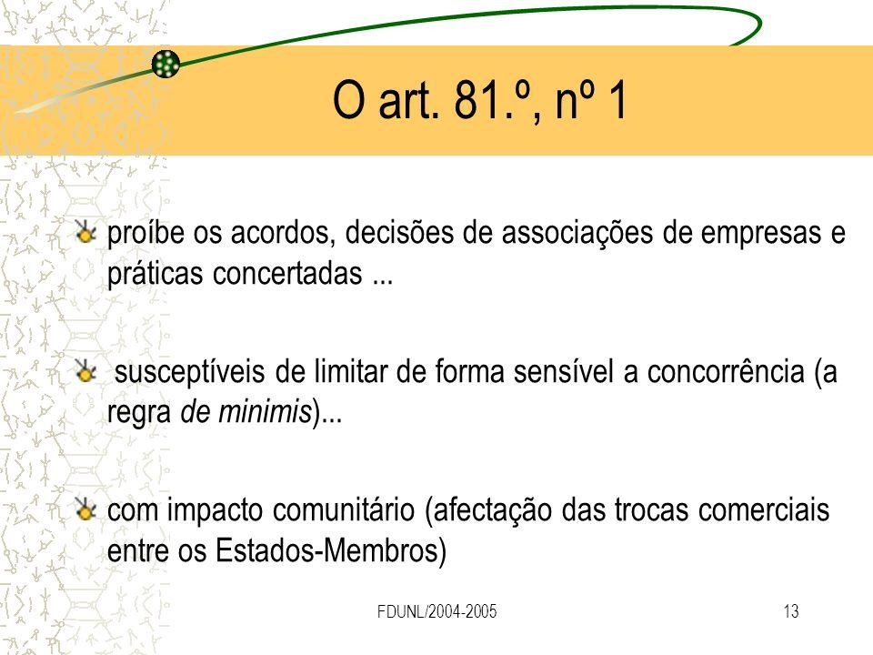 O art. 81.º, nº 1 proíbe os acordos, decisões de associações de empresas e práticas concertadas ...