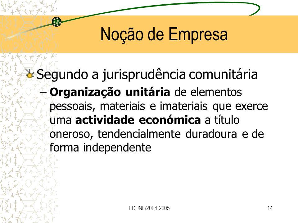 Noção de Empresa Segundo a jurisprudência comunitária