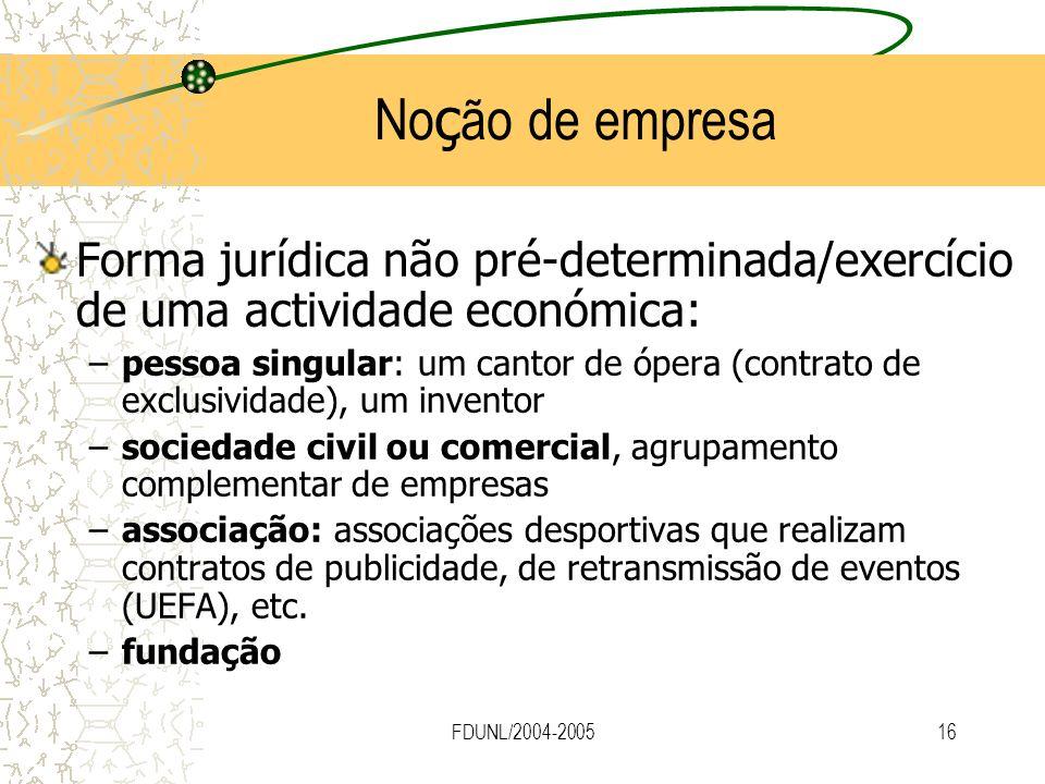 Noção de empresa Forma jurídica não pré-determinada/exercício de uma actividade económica: