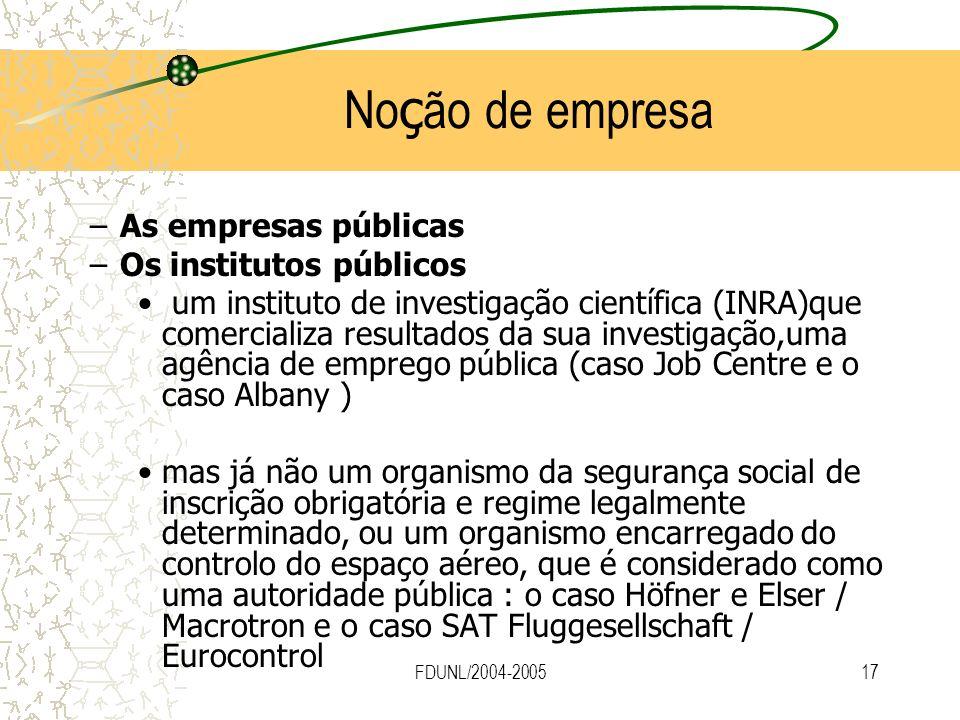 Noção de empresa As empresas públicas Os institutos públicos