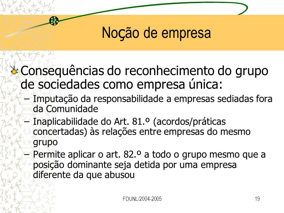 Noção de empresa Consequências do reconhecimento do grupo de sociedades como empresa única: