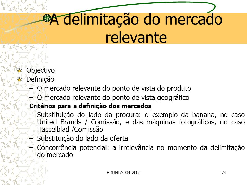 A delimitação do mercado relevante