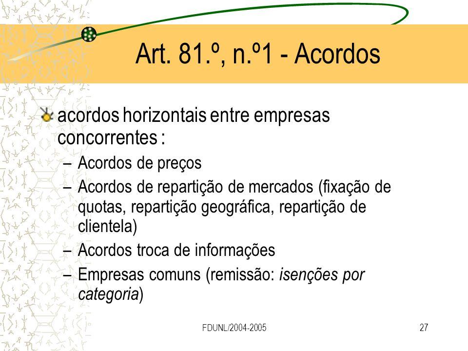 Art. 81.º, n.º1 - Acordos acordos horizontais entre empresas concorrentes : Acordos de preços.
