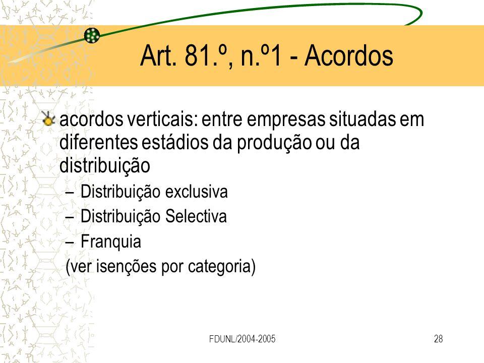 Art. 81.º, n.º1 - Acordos acordos verticais: entre empresas situadas em diferentes estádios da produção ou da distribuição.