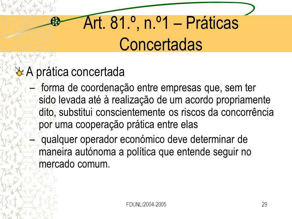 Art. 81.º, n.º1 – Práticas Concertadas