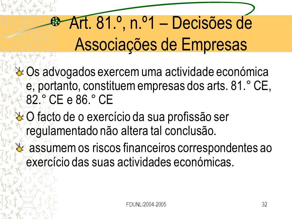 Art. 81.º, n.º1 – Decisões de Associações de Empresas