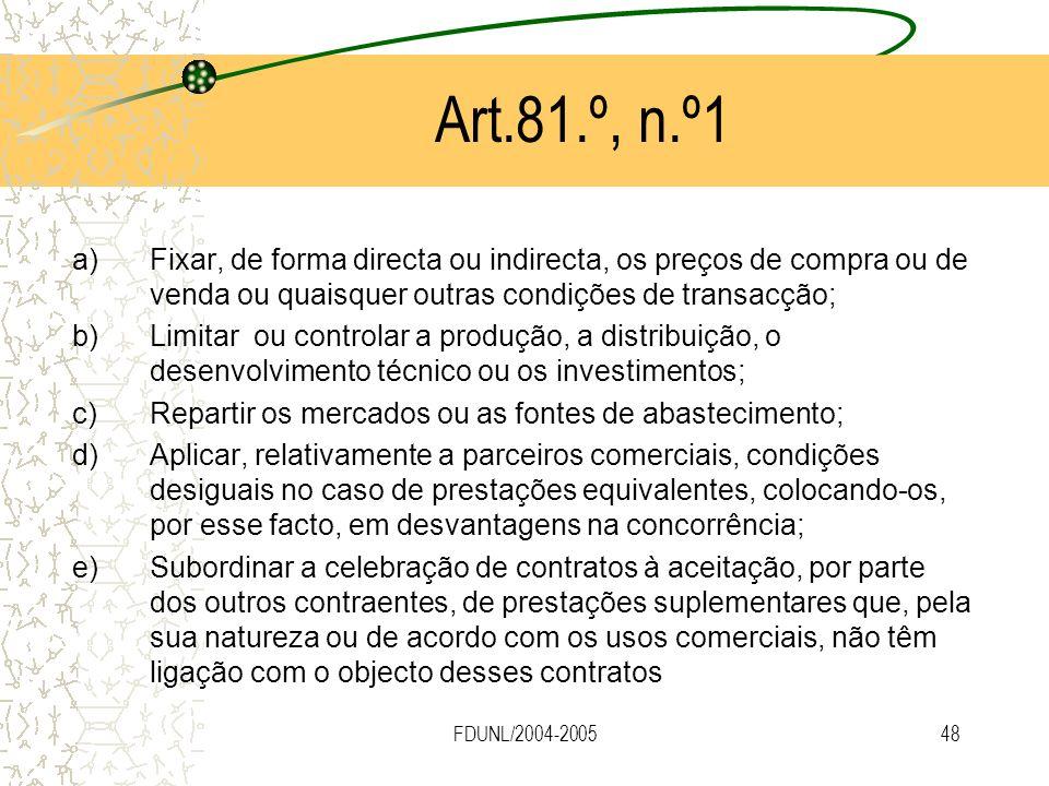 Art.81.º, n.º1 Fixar, de forma directa ou indirecta, os preços de compra ou de venda ou quaisquer outras condições de transacção;