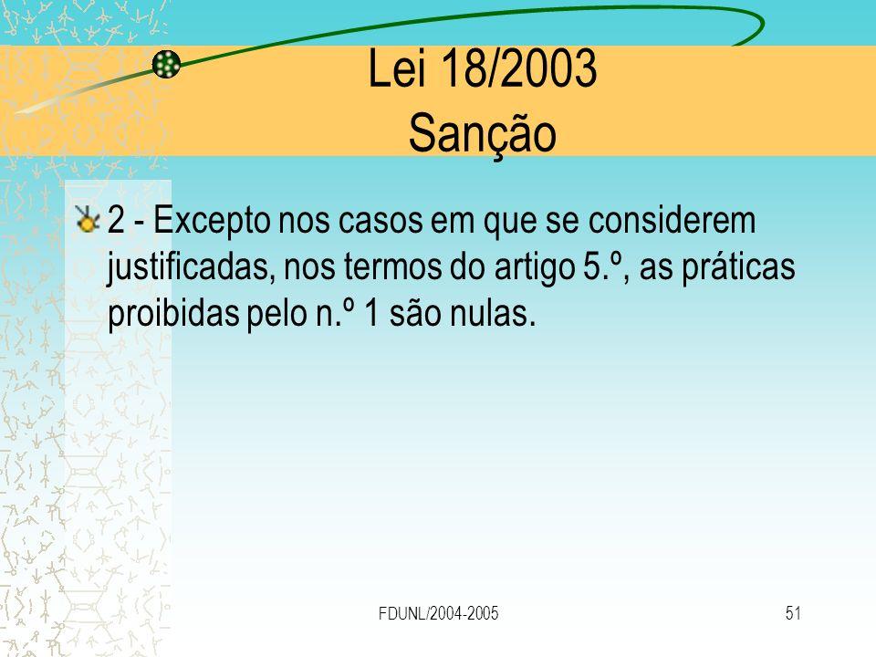 Lei 18/2003 Sanção 2 - Excepto nos casos em que se considerem justificadas, nos termos do artigo 5.º, as práticas proibidas pelo n.º 1 são nulas.